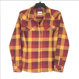 Columbia Flannel Plaid Shirt Omni Wick Snap Button